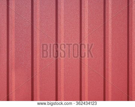 Detail Of New Red Metal Fence