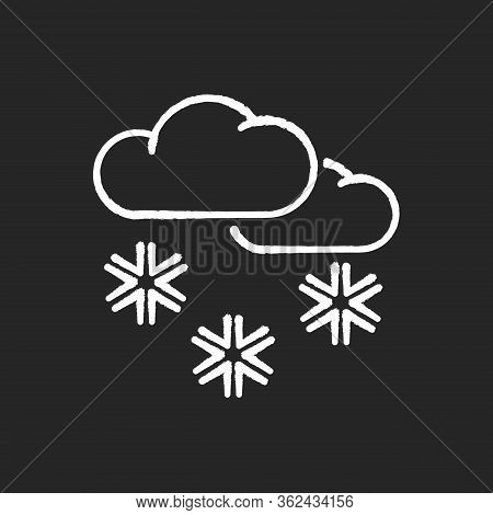 Scattered Snow Chalk White Icon On Black Background. Winter Weather Forecast, Meteorology. Wintertim