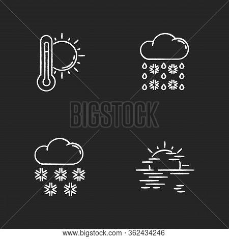 Temperature And Precipitation Forecast Chalk White Icons Set On Black Background. Seasonal Weather P