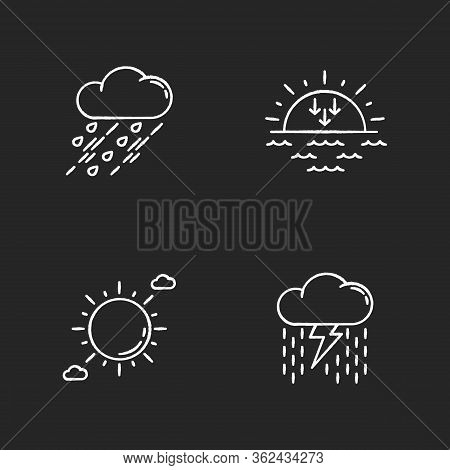 Daytime And Nighttime Forecast Chalk White Icons Set On Black Background. Weather Prediction Science