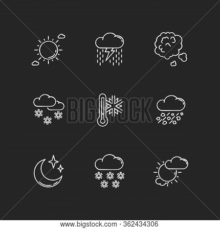 Sky Clarity And Precipitation Chalk White Icons Set On Black Background. Seasonal Weather Forecast,