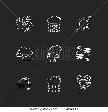 Meteorology Chalk White Icons Set On Black Background. Weather Forecasting Science, Environment Cond