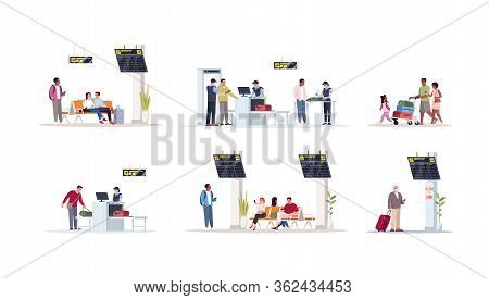 Airport Terminal Flat Vector Illustrations Set. Waiting Lounge Area With Monitor And Displays. Lugga
