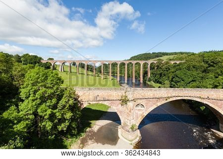 Leaderfoot Viaduct.  Leaderfoot Viaduct In The Background Is A Disused Railway Viaduct Over The Rive
