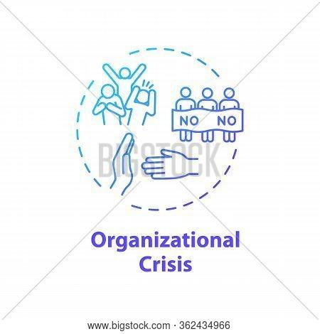 Organizational Crisis Concept Icon. Social Protest, Civil Unrest Idea Thin Line Illustration. Politi