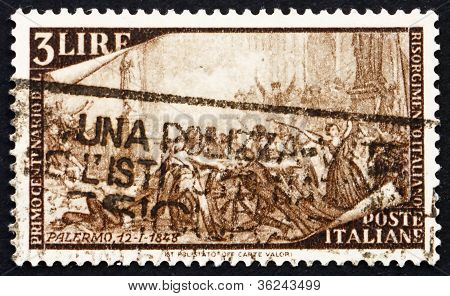 Postage stamp Italy 1948 Uprising at Palermo
