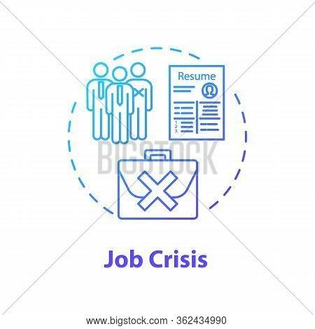 Job Crisis Concept Icon. High Unemployment Rate, Massive Vacancy Shortage Idea Thin Line Illustratio
