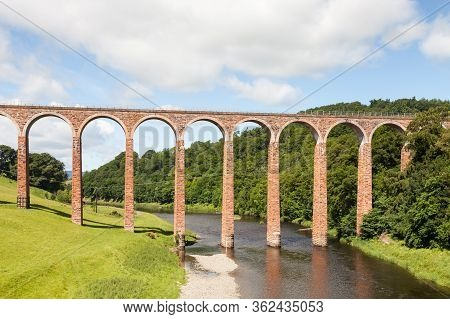 Leaderfoot Viaduct.  Leaderfoot Viaduct Is A Railway Viaduct Over The River Tweed In The Scottish Bo