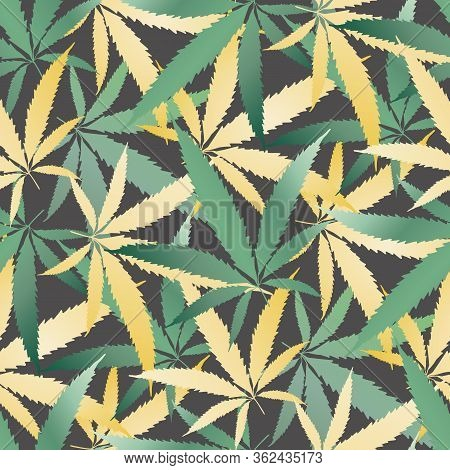 Cannabis Leaves Seamless Vector Pattern Background. Hand Drawn Teal And Gold Hemp Foliage Backdrop.