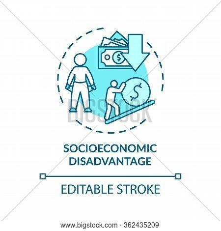 Socioeconomic Disadvantage Concept Icon. Social Classes Inequality, Low Income Idea Thin Line Illust