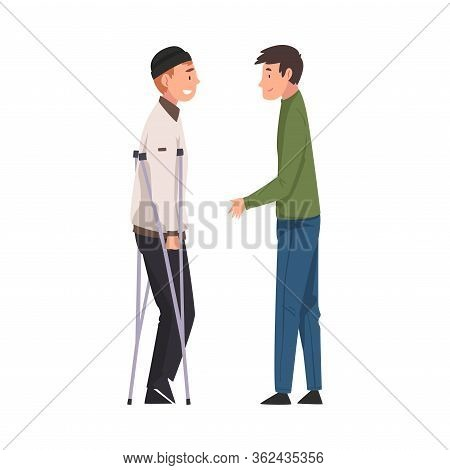 Disabled Man With Crutches Meeting With His Friend, Handicapped Man Receiving Support And Having Goo