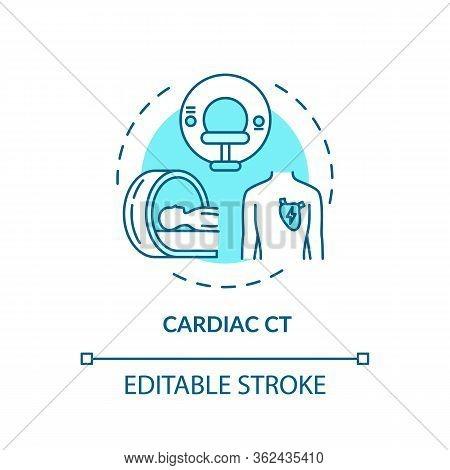 Cardiac Ct Concept Icon. Xray Scanning, Cardiovascular Diseases Diagnostics Idea Thin Line Illustrat