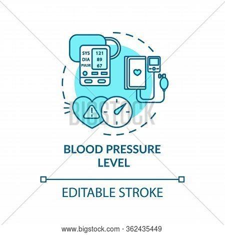 Blood Pressure Level Concept Icon. Cardiovascular Diseases Diagnostics. Cardiac Illness, Hypertensio