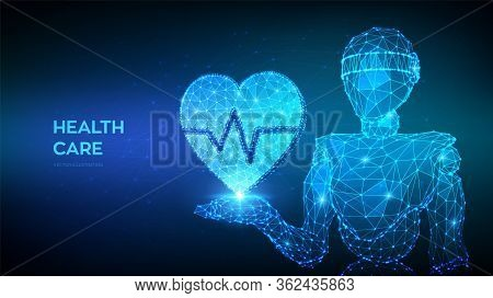 Healthcare, Medicine And Cardiology Concept. Abstract 3d Low Polygonal Robot Holding Heart Icon With
