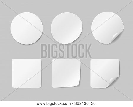 Circle Adhesive Symbols. White Tags, Paper Round Stickers With Peeling Corner, Isolated Rounded Plas