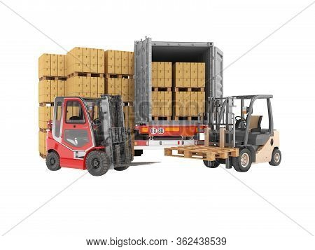 3d Rendering Group Of Forklift Truck Loading Boxes On Pallets Into Truck On White Background No Shad