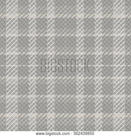 Plaid Seamless Vector Pattern Background. Modern Tartan Style With Twill Effect Backdrop. Repeat Gin