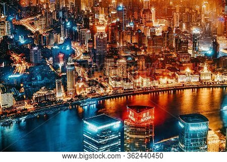 Shanghai, China - May 24, 2015: Beautiful And Office Skyscrapers,night View City Building Of Pudong,