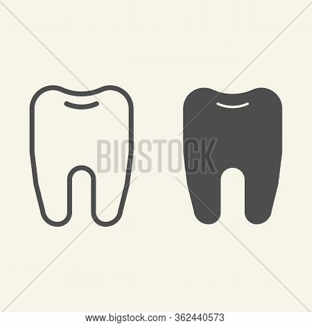 Tooth Line And Solid Icon. Dentistry Or Stomatology Logo Outline Style Pictogram On White Background