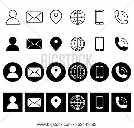 Contact Glyph Icons. Contact Information Icons. Contact Us Vector Line Icons Set. Call, Contact, Ema