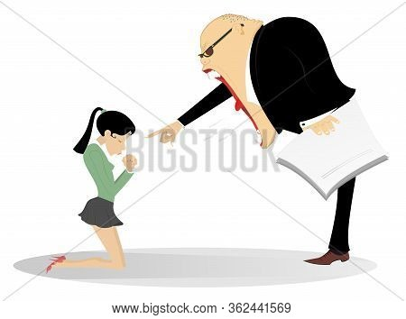Angry Boss Scolds An Employee Woman Illustration. Angry Chief Scolds Kneeling Employee Woman And Poi