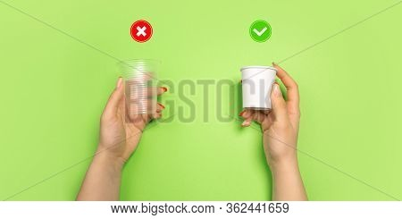 Drinking Cups. Eco-friendly Life - Organic Made Recycle Things In Compare With Polymers, Plastics An