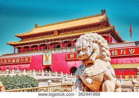 Beiging,china- May 18, 2015: Gate Of Heavenly Peace- Peoples On Entrance To The Palace Museum In Bei