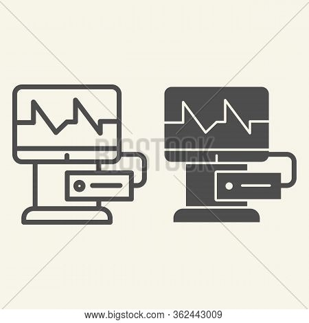 Cardiograph Line And Solid Icon. Electrocardiogram On Monitor Outline Style Pictogram On White Backg