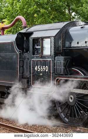 Appleby, England - August 27:  A Close Up Of Steam Train 45690, Leander, At Appleby In Cumbria, Engl