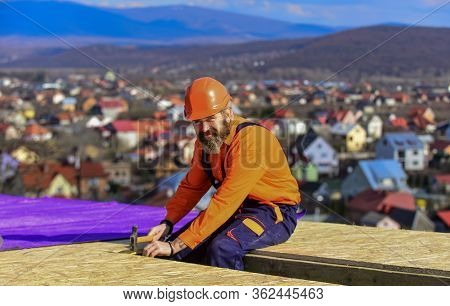 High Altitude Works. Heat Insulation. Builder Roofing Surface. Professional Master Repair Roof. Flat