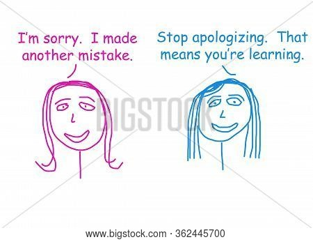 Color Cartoon Showing Two Women Talking And Saying It Is Not Necessary To Apologize If Making A Mist