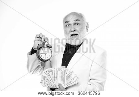 Time Is Money. Senior Man Pensioner Hold Cash Money And Clock. Earn Money Profit. Banking And Money