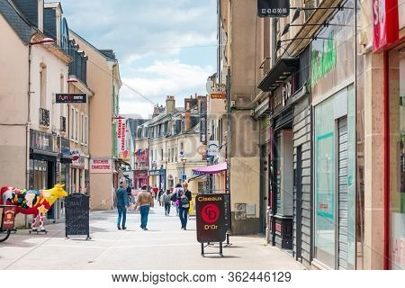 LE MANS, FRANCE - April 28, 2018: Street view of downtown in Le Mans, France