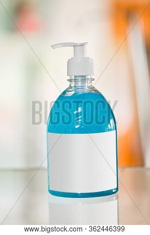 Alcohol Gel Bottle Pump With Empty White Lable For Add Logo Mockup Hand Sanitizer In Public Park For
