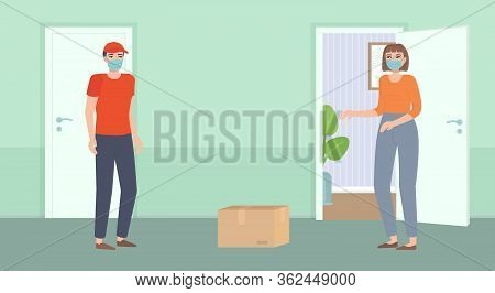 Safe Contactless Food Delivery. Courier In Mask Bring Package. Girl Standing Behind Open Door. Dista