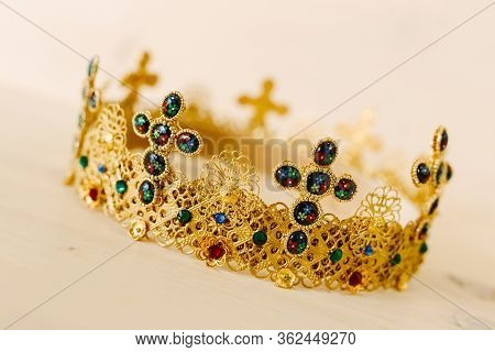 Golden Crown Encrusted With Precious Stones And Crosses