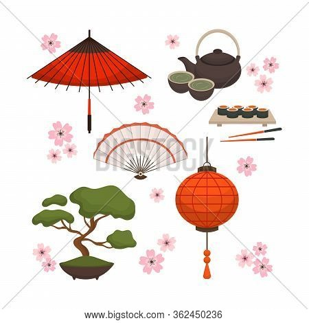 Collection Of Japanese Object, Souvenirs, Accessories. Traditional Japan Symbols. Icons Set In The S