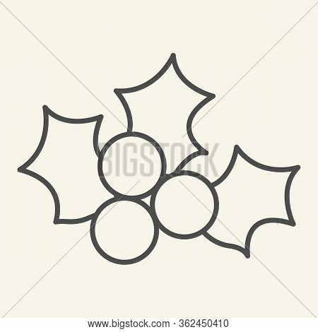 Mistletoe Thin Line Icon. Winter Holiday Berry Decor Outline Style Pictogram On White Background. Ch