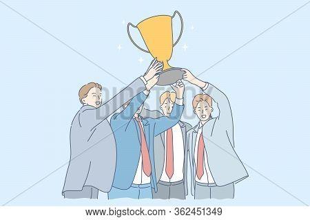 Success, Win, Celebration, Goal Achievement, Business Concept. Team Of Young Happy Businessmen Clerk