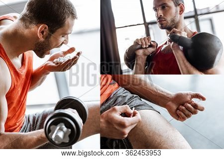 Collage Of Man Sportsman With Opened Mouth Exercising With Dumbbells, Holding Probiotic Pills And Ma