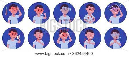 Coronavirus 2019-ncov Symptoms Flat Icons Set, Colorful Symbols Pack Contains - Fever, Cough, Sore T