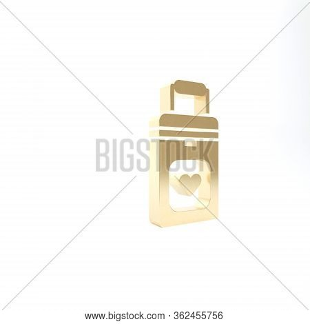 Gold Cooler Box For Human Organs Transportation Icon Isolated On White Background. Organ Transplanta
