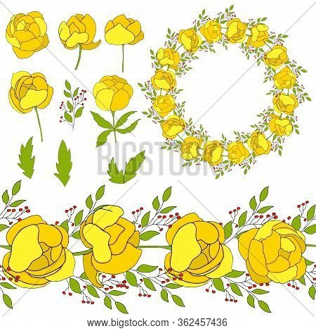 Set With Yellow Flowers Of A Groove And Branches For Gift Cards. Set Of Flowers Cupid For Clipart. F