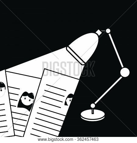 Light From Lamp Shining On Resume, Finding Person To Hire, Monotone Vector Illustration