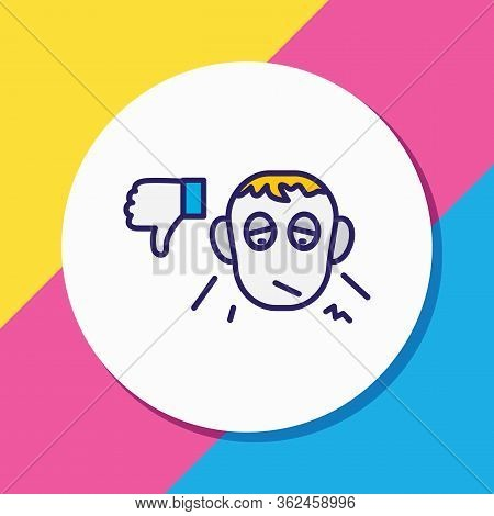 Vector Illustration Of Pessimistic Icon Colored Line. Beautiful Emoji Element Also Can Be Used As Di