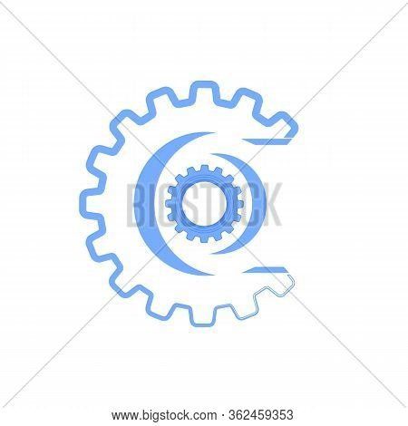 Techno Banner With Geometric Gear Wheels Icon. Machinery Logo. Modern Mechanism Cog Concept. Technol