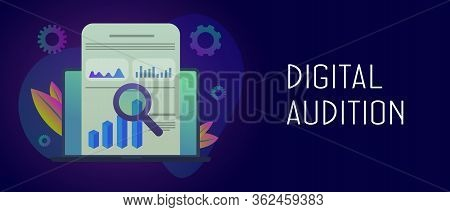 Digital Audition With Marketing Research Concept With Charts, Graphs And A Magnifier On A Laptop Scr