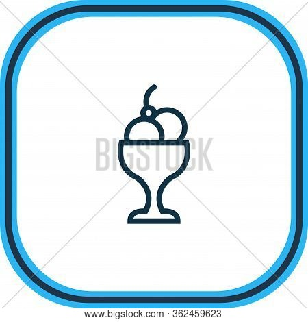 Vector Illustration Of Ice Cream Bowl Icon Line. Beautiful Party Element Also Can Be Used As Sundae