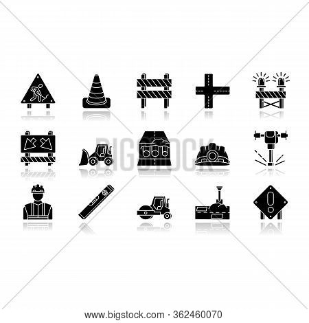 Road Works Drop Shadow Black Glossy Icons Set. Roadsign For Construction. Worker In Safety Helmet. B
