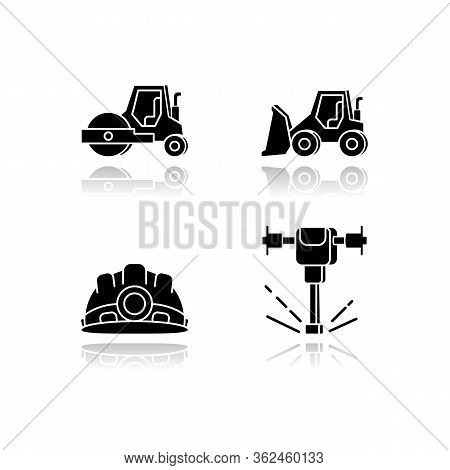 Road Works Drop Shadow Black Glossy Icons Set. Bulldozer For Construction Work. Roller Truck For Pav